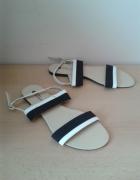 Biało czarne sandały 40 wkładka 255cm nowe...