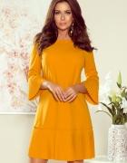 Musztardowa sukienka plisowana S M L XL XXL kolory...