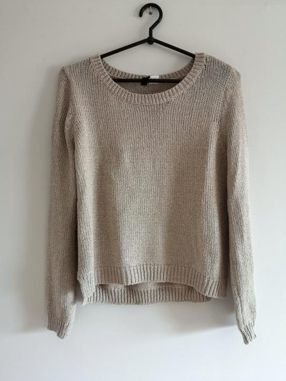 różowy sweter XS S M pudrowy róż nude H&M oversize boho glamour srebrna nitka