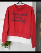 Sinsay nowa czerwona bluza dresowa z napisem...