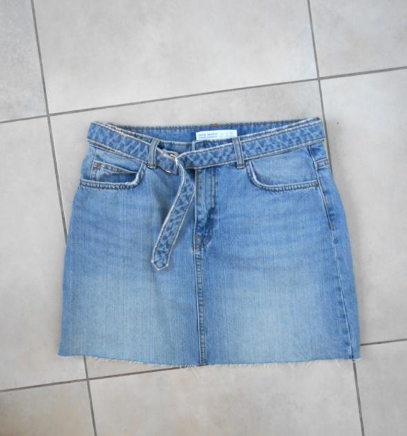 Spódnice Zara spódniczka mini jeansowa jeans pasek