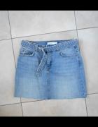 Zara spódniczka mini jeansowa jeans pasek...
