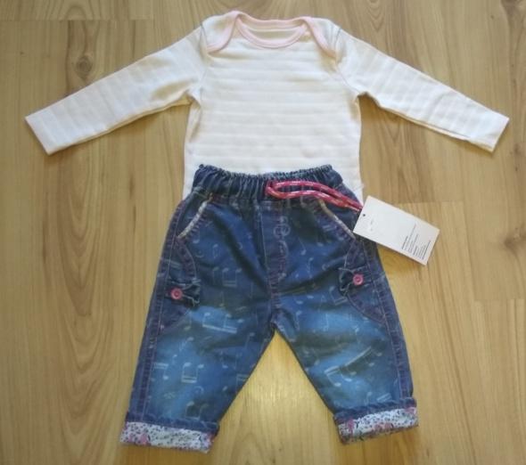 Komplety Body w paseczki z długim rękawem i spodnie jeansow
