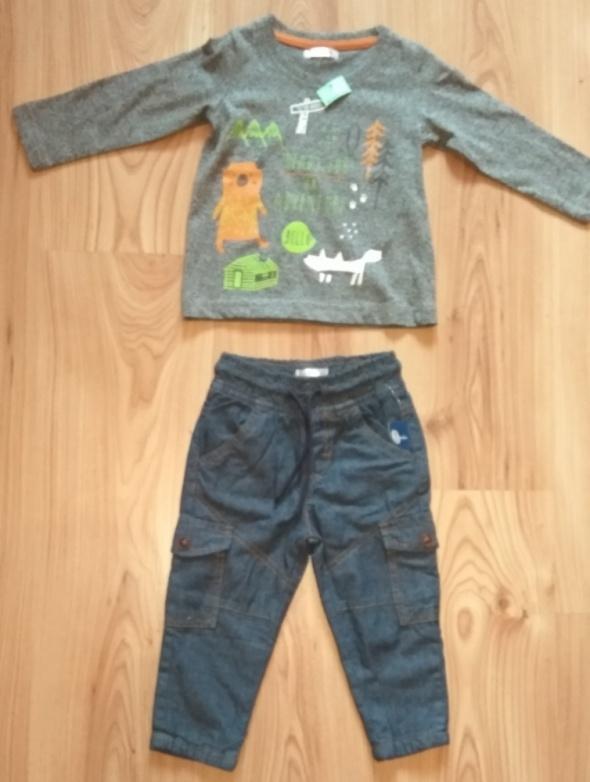 Spodnie i spodenki Nowy komplet dla chłopca spodnie bojówki i bluzka z długim rękawem 80