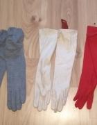 Nowe długie rękawiczki szare czerwone beżowe różne rozmiary weł...