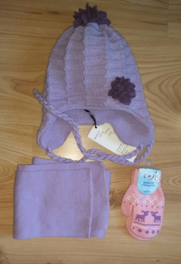 Nowy zimowy komplet czapka szalik i rękawiczki fioletowy wrzosowy róż