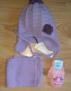 Nowy zimowy komplet czapka szalik i rękawiczki fioletowy wrzoso...