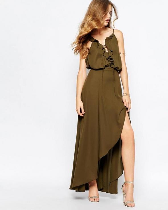 Suknie i sukienki khaki sukienka falbanka 38