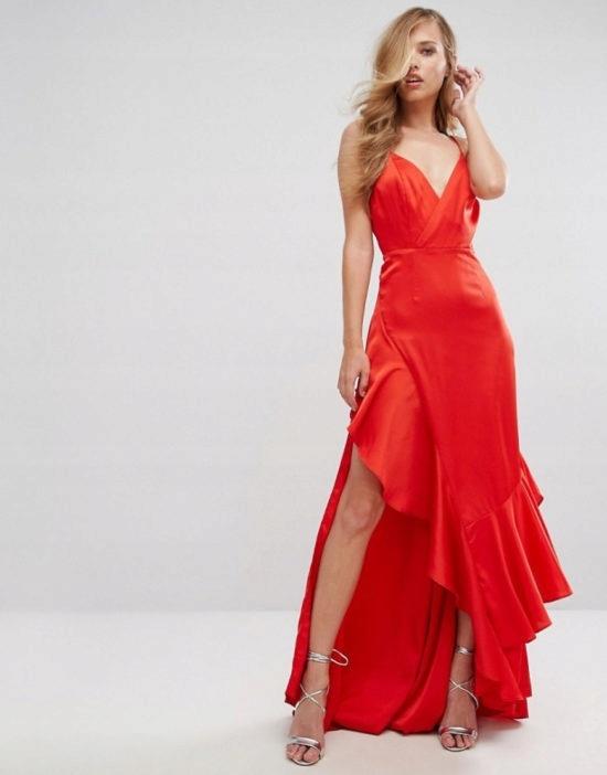 sukienka czerwona elegancka zwiewna falbana seksowna...