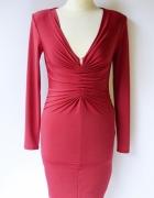 Sukienka XS 34 Bik Bok Czerwona Marszczona Sexy Dekolt Ołówkowa...