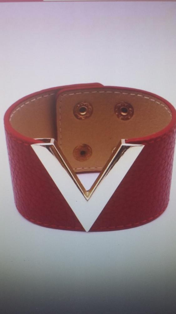 bransoletka skórzana szeroka czerwona V