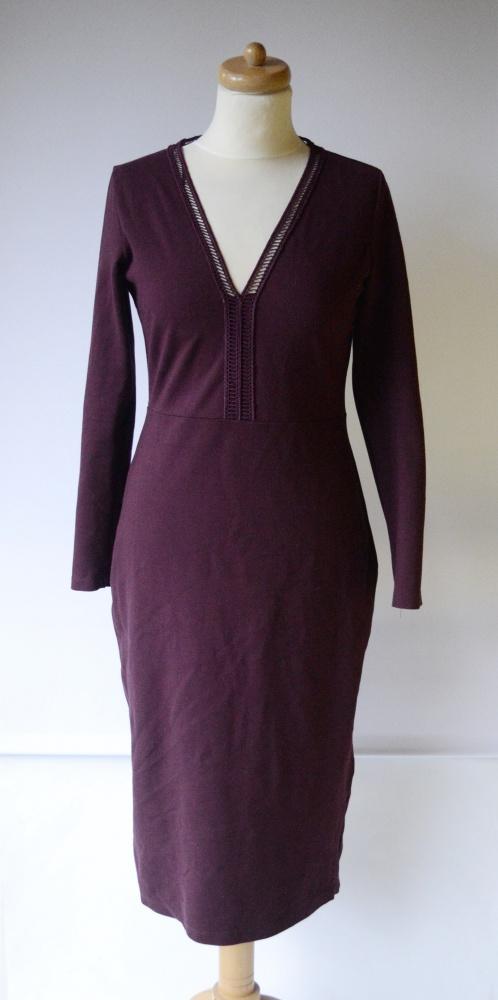 Sukienka Bordowa Lindex M 38 Dłuższa Elegancka Bordo...
