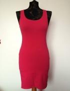 H&M neonowa neon róż różowa sukienka dopasowana...