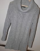 Sisters Point szary sweter tunika z golfem warkocze m l...