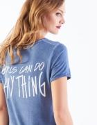 Mohito niebieska koszulka oversize z napisem na plecach M...