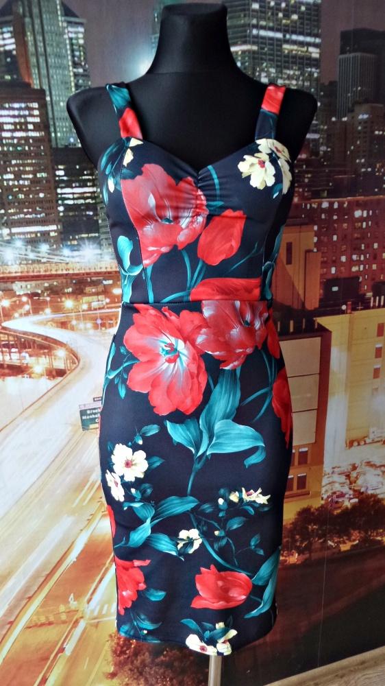 sukienka ołówkowa kwiaty floral nowa 34