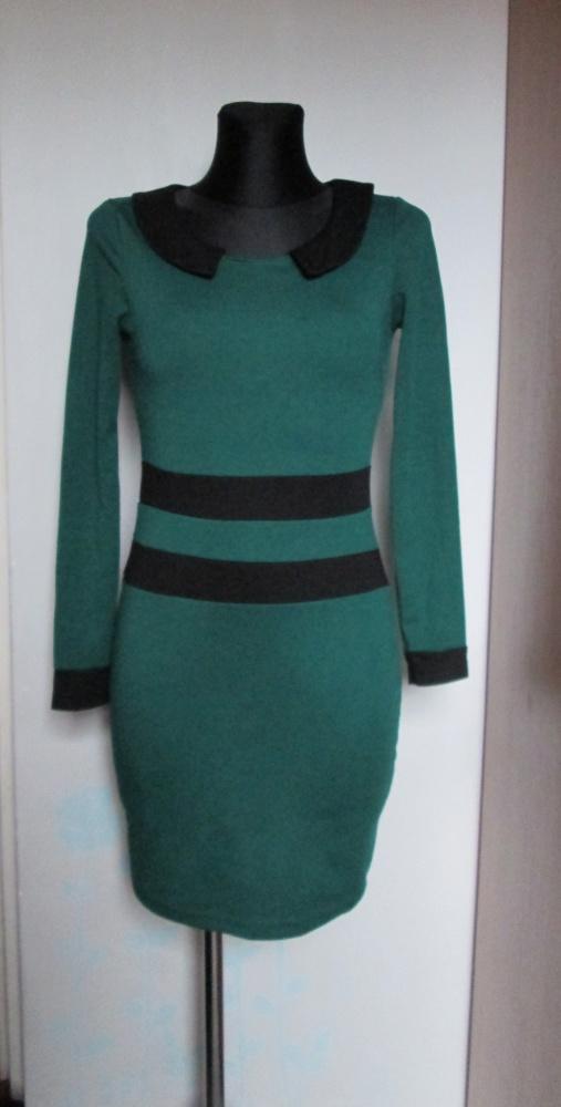 Ciemno zielona sukienka czarne wstawki