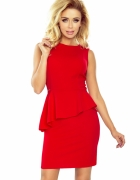 sukienka czerwona z baskinką mini...