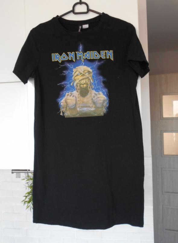 HM sukienka Iron Maiden czarna nadruk print
