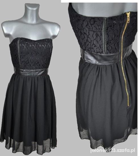 Wyjątkowa sukienka z koronką i szyfonem S