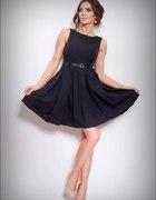 Czarna sukienka kontrafałdy rozkloszowana 40 L...