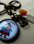 SUPER MAMA brelok na klucze prezent kryształ górski...
