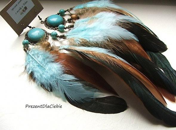 kolczyki boho etno hippie pióra turkusy indiańskie łapacz snów