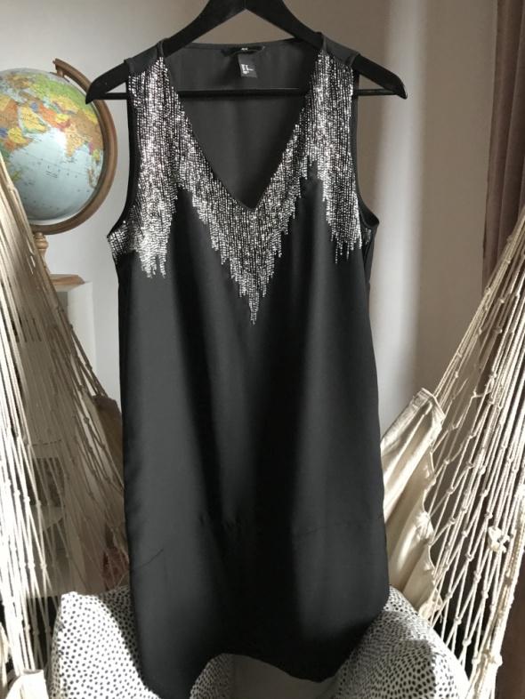Letnia sukienka wieczorowa czarna z cekinami 38 M H&M efektowna...