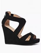 Sandały czarne koturny 38 zamszowe...
