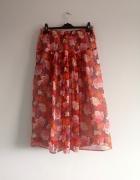 kwiatowa spódnica plisowana S M L kwiaty floral boho vintage re...