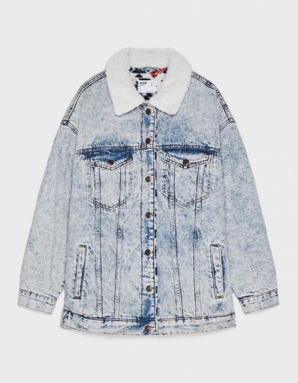 Kurtka jeans oversize kożuszek Bershka 38 M...