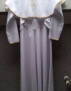 Biała sukienka na komunię alba złote wstawki TANIO