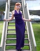 Długa grecka maxi sukienka śliwkowa fioletowa dżet...
