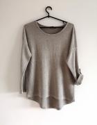Cienki sweter S M L bluzka oversize srebrna nitka boho nude ret...