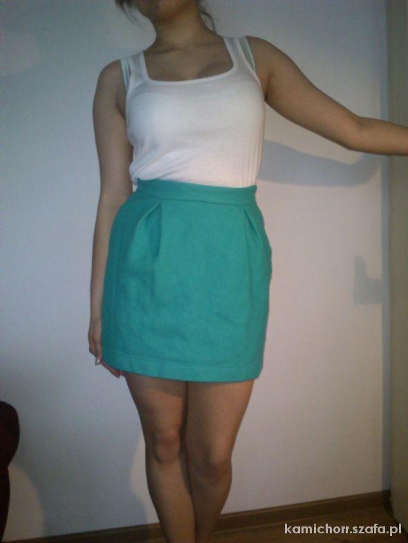Spódnice Krótka turkusowa pastelowa MINI spódniczka