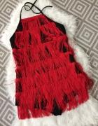 PrettyLittleThing czerwony czarny kombinezon kostium frędzle wi...