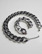 srebrny zestaw naszyjnik i bransoletka łańcuchy łańcuchowe sreb...