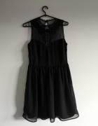 czarna sukienka koronka S M L cekiny lace kryształki ZARA boho...