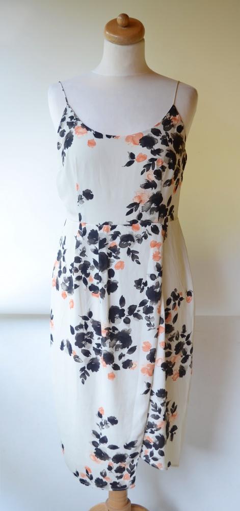 Sukienka Beżowa Lindex L 40 Kopertowa Kwiaty Elegancka...