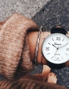Klasyczny zegarek Geneva skórzany pasek czarny