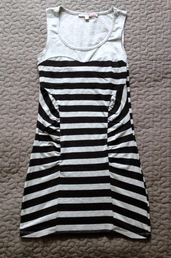 TALLY WEIJL sukienka szaro czarne paski dopasowana rozm XS 34 stan DB