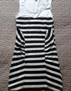 TALLY WEIJL sukienka szaro czarne paski dopasowana rozm XS 34 s...