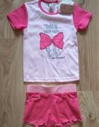 Nowy letni dziewczęcy różowy komplecik bluzeczka i krótkie spod...