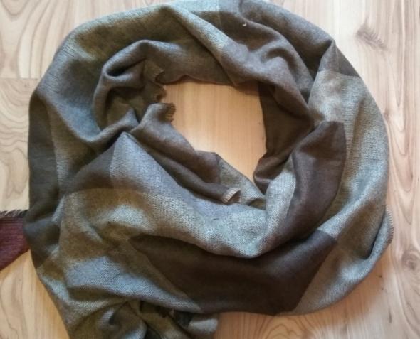 Nowy szal szalik akrylowy beżowo brązowy duży