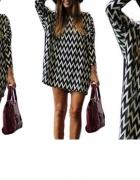Poszukiwana sukienka tunika w asymetryczne wzory