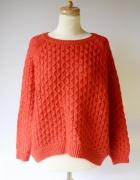 Sweter H&M M 38 Czerwony Ażurowy Oversize Akryl Luzny...