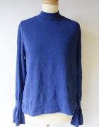 Bluzka Kobaltowa H&M L 40 Rozszerzane Rękawy Niebieski...