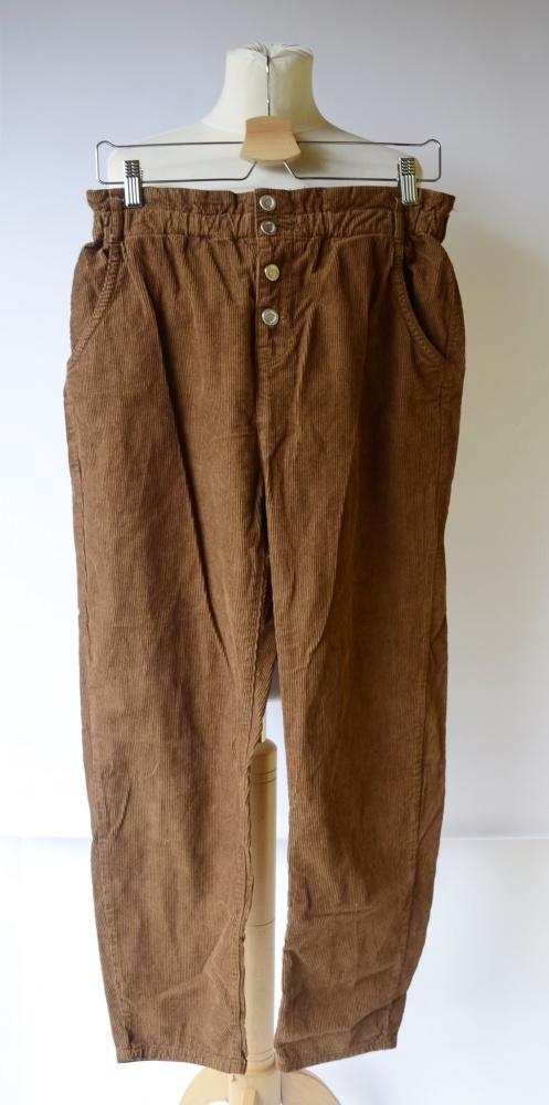 Spodnie Brązowe Zara M 38 Sztruksowe Wższy Stan Proste Nogawki...