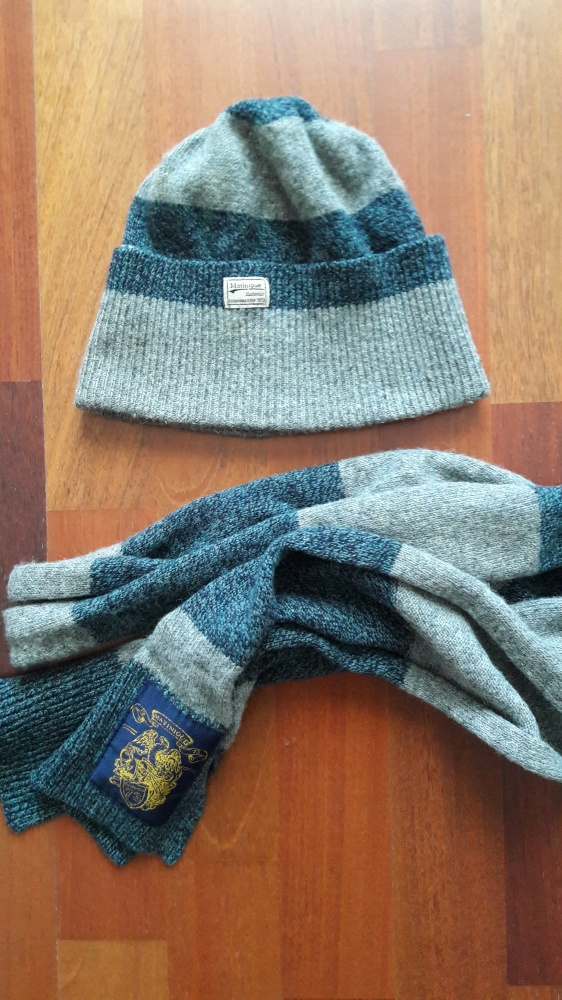 Czapka i szalik szary niebieski melanż Matinique wełniany wełna