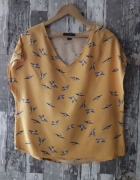 Primark musztardowa bluzka ptaki...